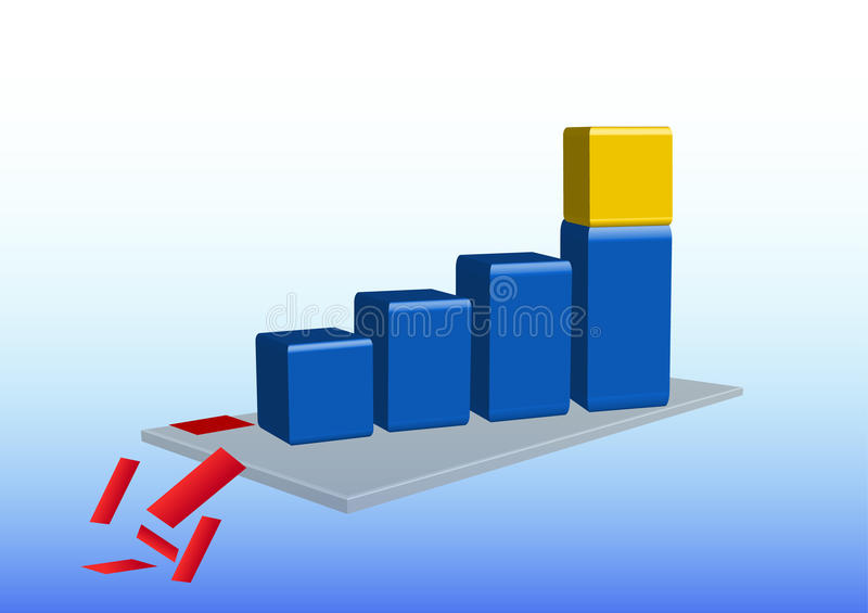 Growth graph with golden cube. 3d graph is showing growth. On the last cuboid is standing a golden cube. Graph is standing on a gray mat. From the mat are vector illustration