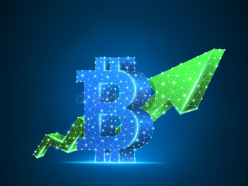 Growth green arrow Bitcoin chart 3d Vector polygonal cryptocurrency Low poly business, success, cash, finance concept. Growth arrow Bitcoin chart wireframe royalty free illustration