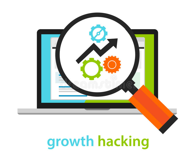 Growth hacking ways how business technology company strategy to improve user and revenue number. Vecto royalty free illustration