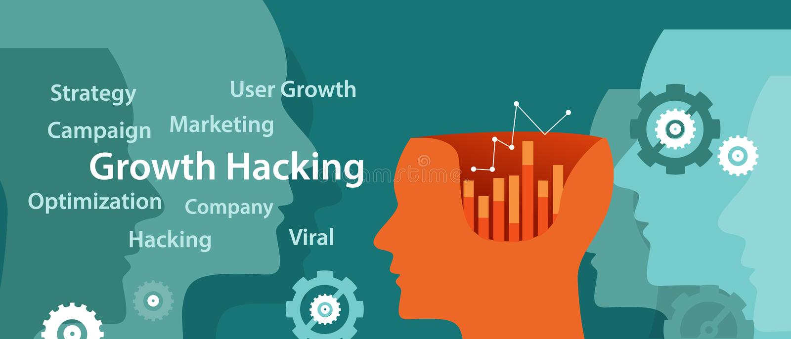 Growth hacking ways how business technology company strategy to improve user and revenue number vector illustration