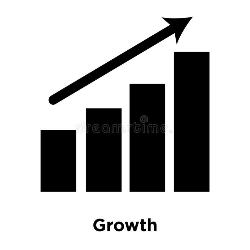 Growth icon vector isolated on white background, logo concept of. Growth sign on transparent background, filled black symbol vector illustration