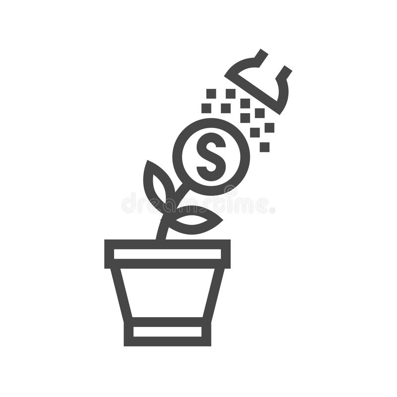 Growth Income Thin Line Vector Icon royalty free illustration