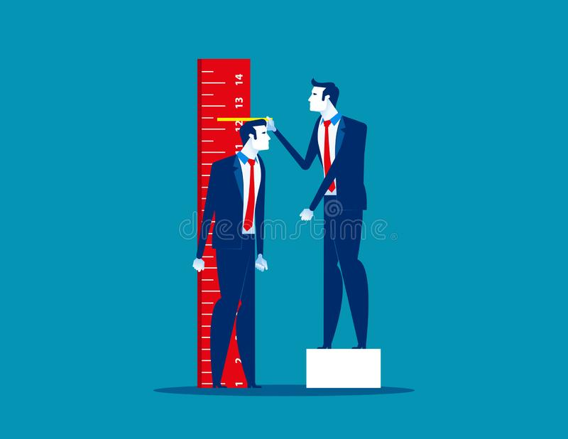 Growth. Leader check the progress of business team. Concept business vector illustration, Flat business style, Cartoon character stock illustration
