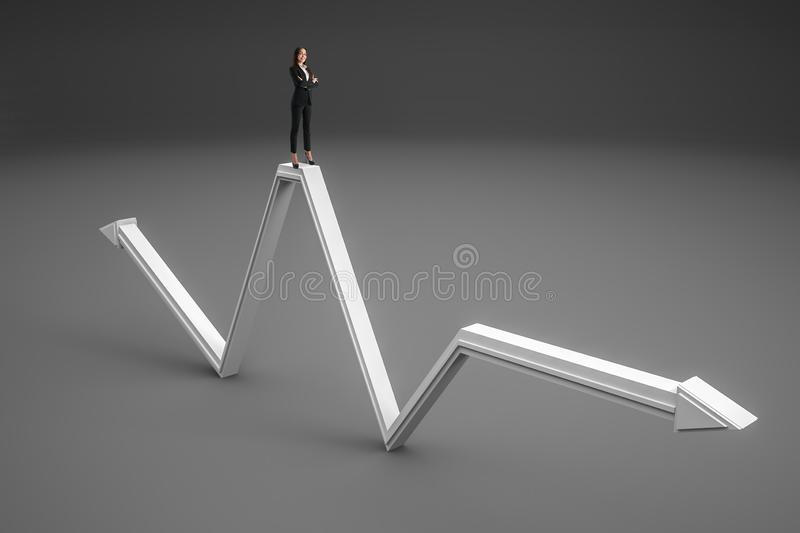 Growth, leadership and leader concept. Businesswoman standing on abstract gray arrow on gray background. Growth, leadership and leader concept royalty free stock photos