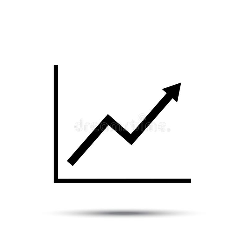 Growth line chart icon. Growing diagram flat vector illustration with shadow. stock illustration