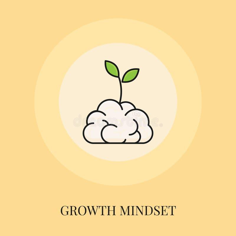 Growth Mindset Concept. Flat Line Icon. Vector illustration royalty free illustration