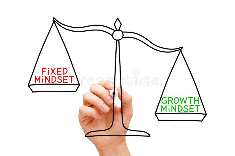 Growth Mindset Fixed Mindset Scale Concept. Hand drawing Growth Mindset or Fixed Mindset scale concept with black marker on transparent wipe board royalty free stock photos