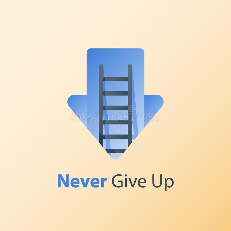 Growth mindset, never give up concept, positive thinking, ladder to success, pursuit goal, overcome obstacle. Never give up concept, growth mindset, motivation royalty free illustration
