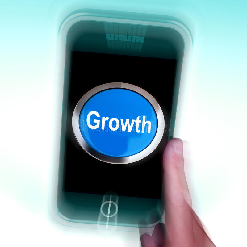 Download Growth On Mobile Phone Means Get Better Bigger And Developed Stock Illustration - Illustration: 41434970