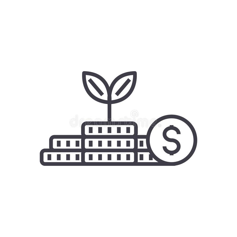 Growth money,investment,finance plan vector line icon, sign, illustration on background, editable strokes royalty free illustration