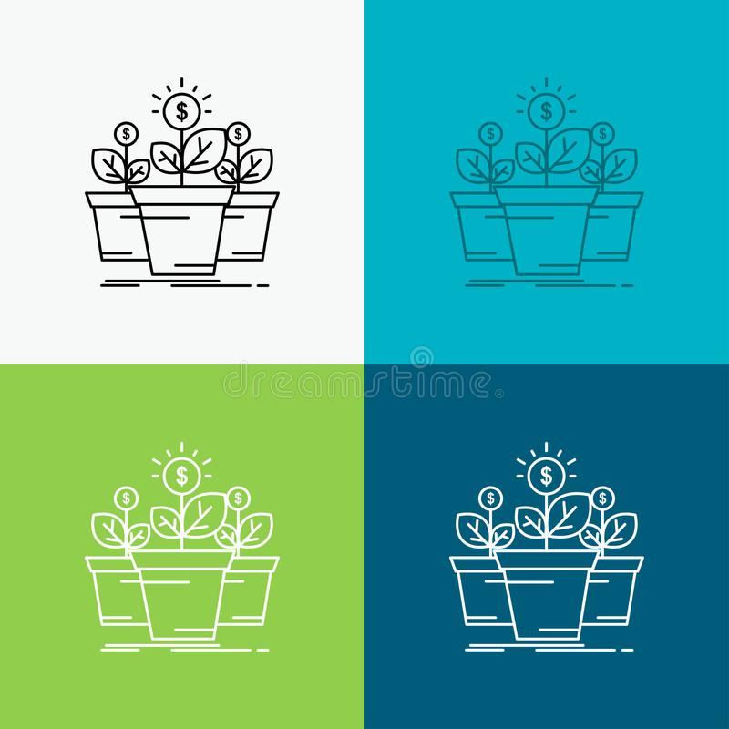 growth, money, plant, pot, tree Icon Over Various Background. Line style design, designed for web and app. Eps 10 vector vector illustration