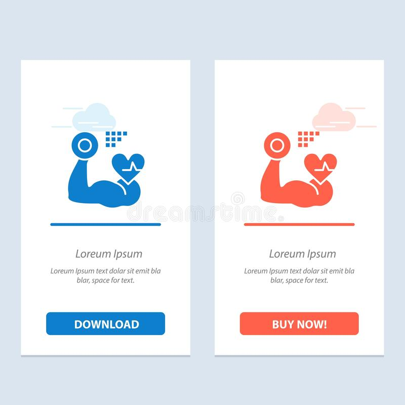 Growth, Muscle, Heart, Beat  Blue and Red Download and Buy Now web Widget Card Template royalty free illustration