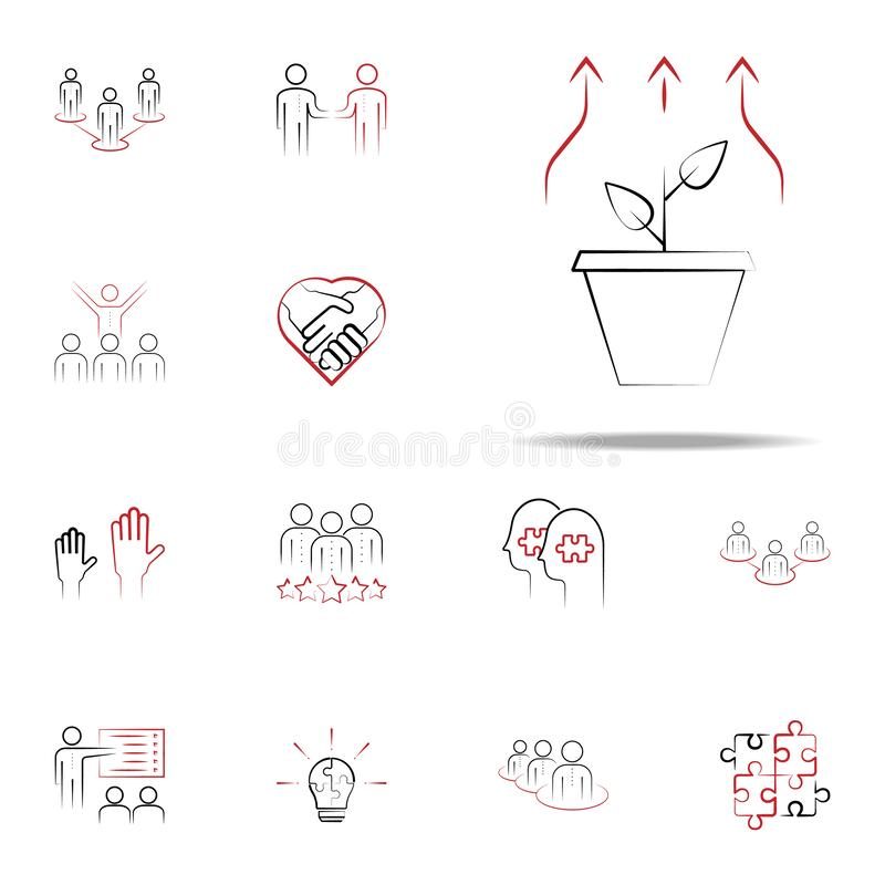 growth needs colored hand drawn icon. Team icons universal set for web and mobile stock illustration