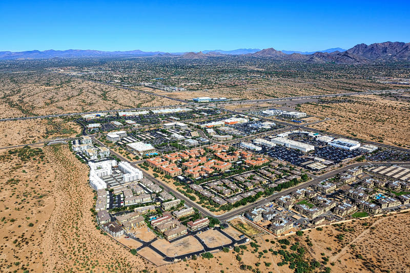 Growth in North Scottsdale, Arizona. Near the Loop 101 freeway looking to the northeast from above stock photos