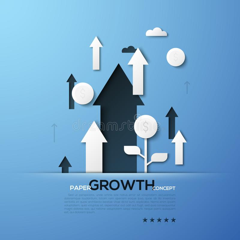 Growth paper concept. White silhouettes of arrows pointing upwards and dollar coins. Creative elements in simple style. vector illustration