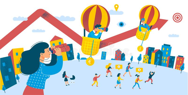 Growth of People Investment for Divident Profit. City Scene Group of People Opportunity Raise Money Investing Concept. Looking for Success. Flat Cartoon Vector royalty free illustration