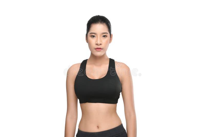 Growth portrait of fitness woman in sportswear. stock photo
