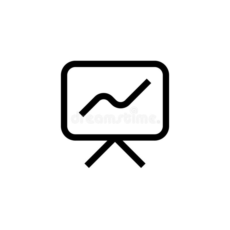 Growth presentation meeting icon design. screen with growing line graph symbol. simple clean line art professional business vector illustration