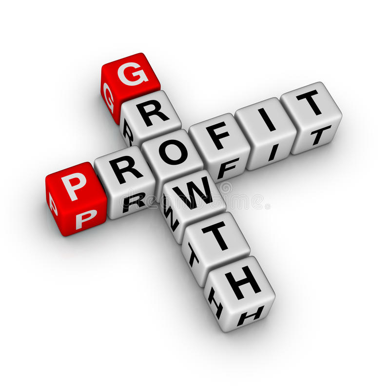 Growth and profit. Crossword puzzle stock illustration