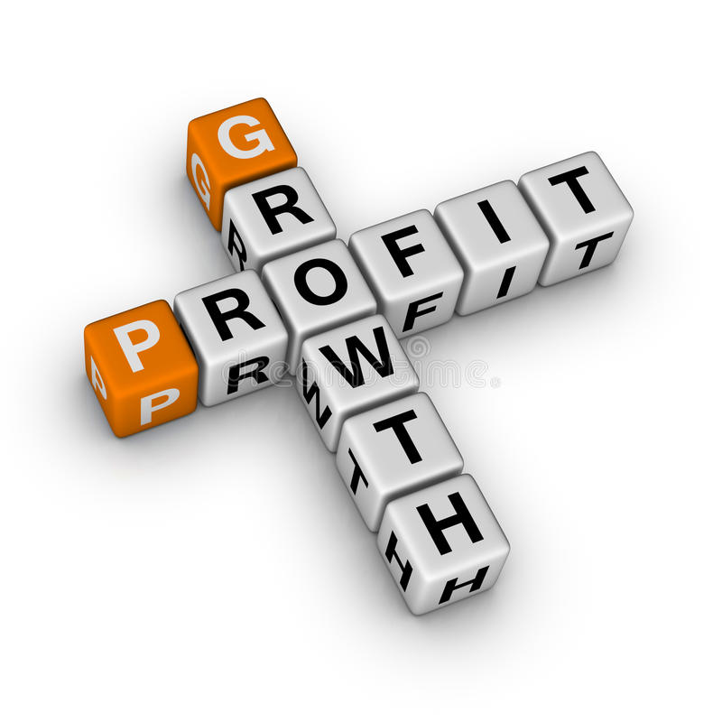 Growth and profit. (3D crossword orange series royalty free illustration