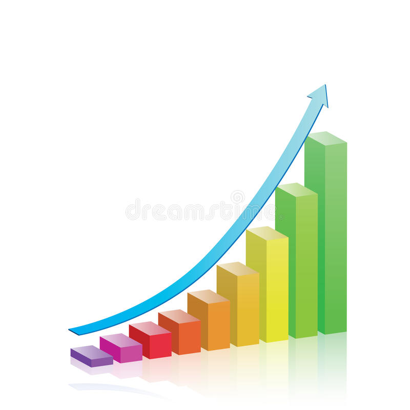 Growth & Progress Bar Chart royalty free illustration