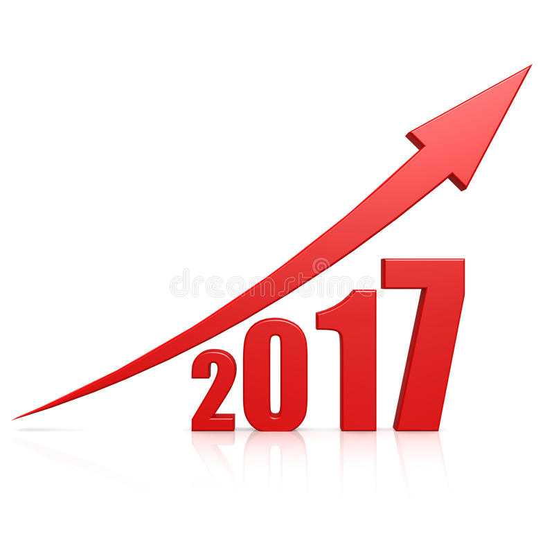2017 growth red arrow stock illustration. Image of chart ...