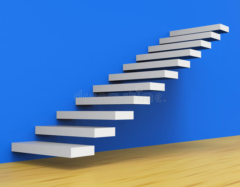 Growth Stairs Shows Staircase Upwards And Ascend. Growth Success Meaning Prevail Winning And Develop stock illustration