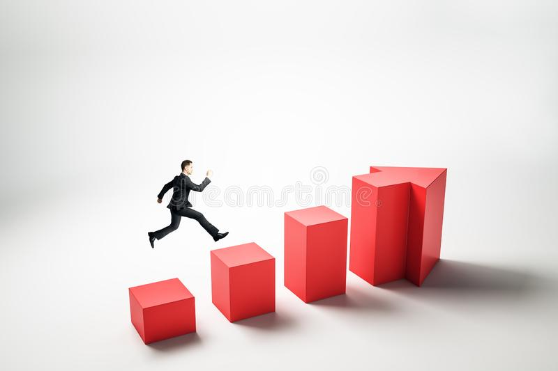 Growth and success concept. Side view of young businessman running up abstract red arrow ladder on white background. Growth and success concept royalty free illustration
