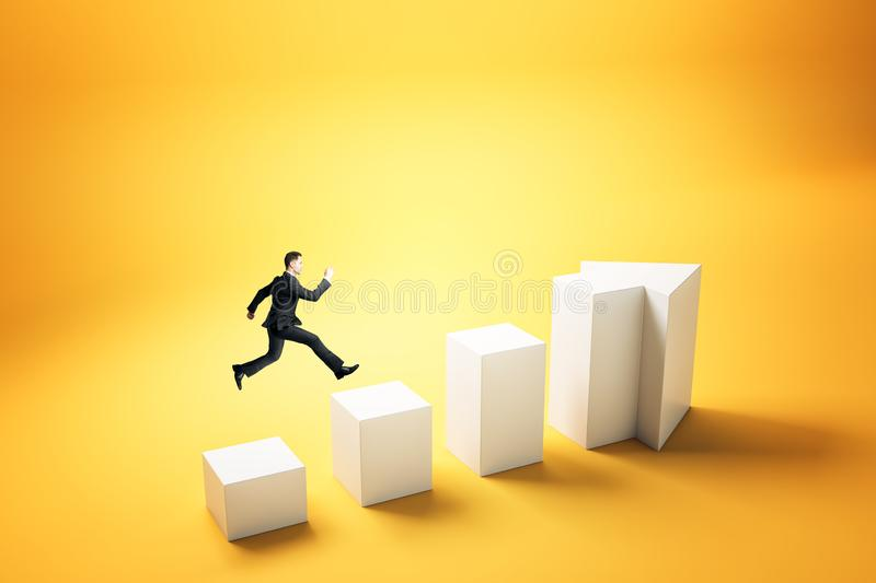 Growth and success concept. Side view of young businessman running up abstract white arrow ladder on yellow background. Growth and success concept royalty free illustration