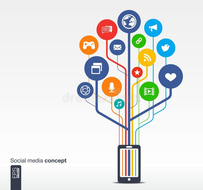 Growth tree with mobile phone social media network. Abstract background with mobile phone, lines, circles and icons. Growth tree concept with social media, earth vector illustration