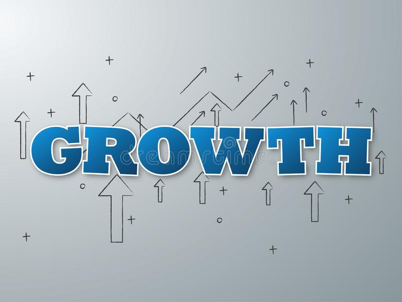 Growth blue word on light background. Vector illustration.  royalty free illustration