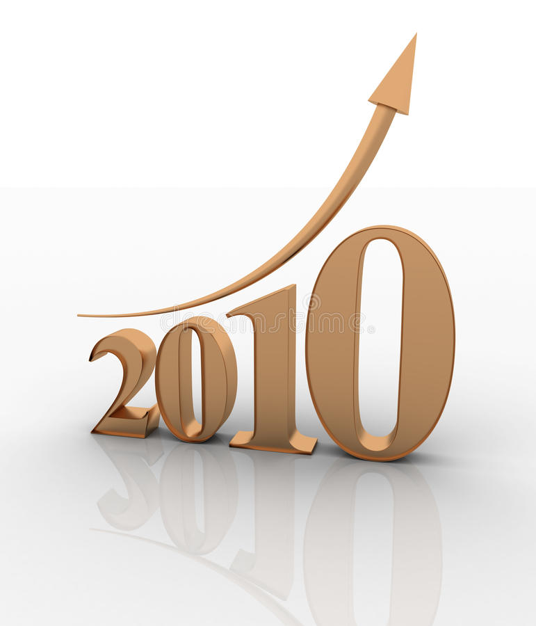 Growth of year 2010 stock photos