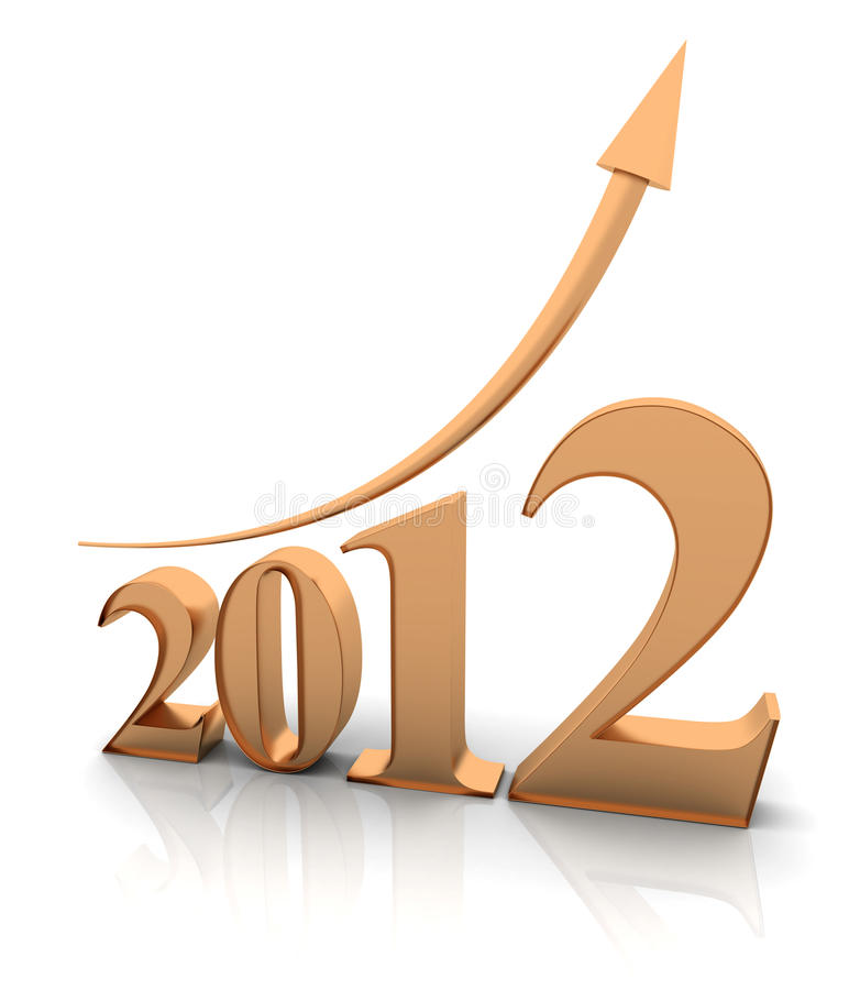 Growth of year 2012. 3D render vector illustration