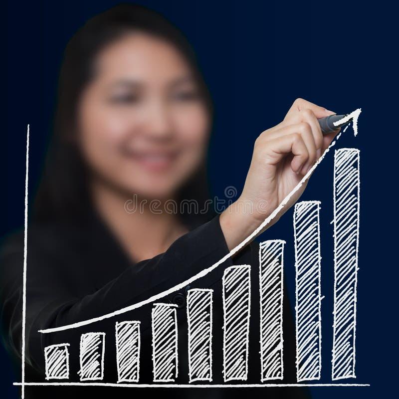 Growthing Pfeil der Geschäftsfrau-Zeichnung lizenzfreie stockfotografie