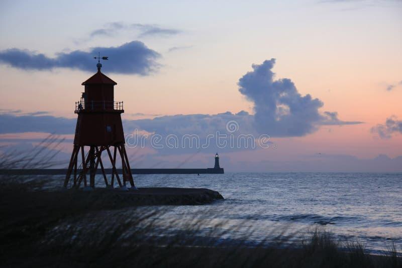 Groyne Lighthouse & Grasses stock images