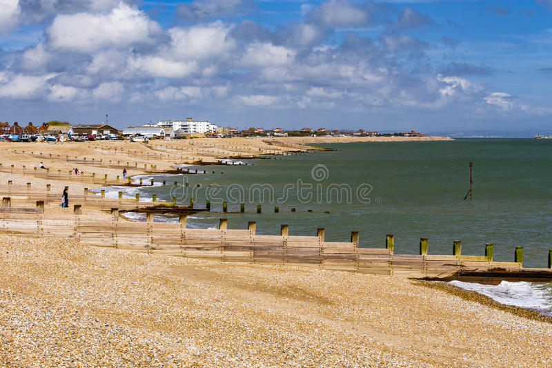 Groynes along the beach stock photo