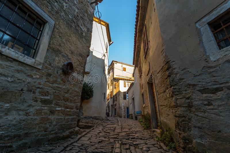 Groznjan at afternoon. Street of Old Town Groznjan, Istria, Croatia, photographed with my Nikon D750 at Winter afternoon royalty free stock photo
