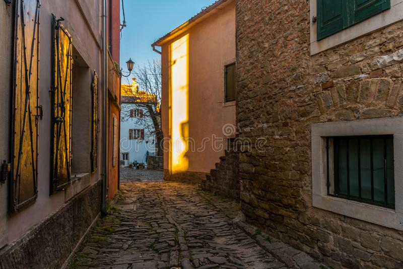 Groznjan, Istria, Croatia, at afternoon. Street of Old Town Groznjan, Istria, Croatia, photographed with my Nikon D750 at Winter afternoon stock photos
