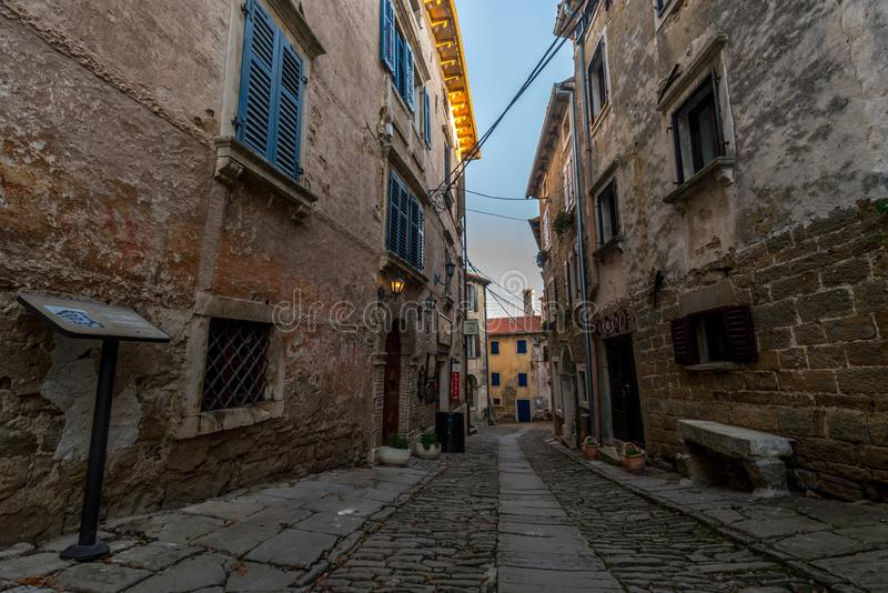 Groznjan, Istria, Croatia. Street of Old Town Groznjan, Istria, Croatia, photographed with my Nikon D750 at Winter afternoon and blue Hour royalty free stock photos