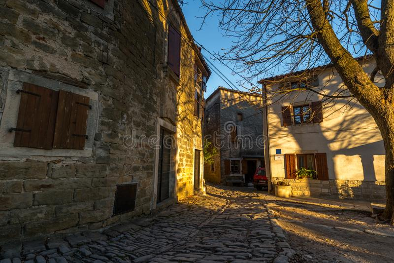 Groznjan Street at Winter time. Street of Old Town Groznjan, Istria, Croatia, photographed with my Nikon D750 at Winter afternoon royalty free stock photography