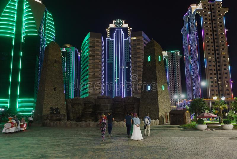 Tourists near Grozny city — a complex of high-rise buildings in the center of Grozny on the banks of the Sunzha river. A popular. Grozny, Chechen Republic stock images
