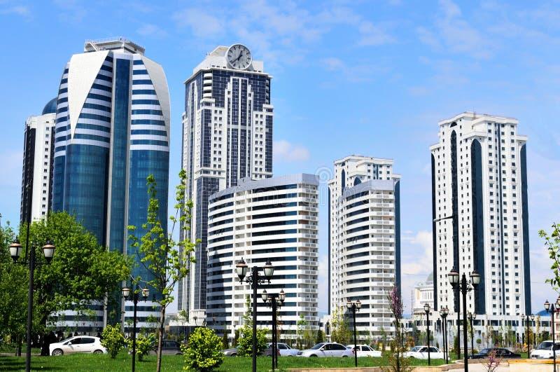 Grozny, de hoofdstad van de Tchetcheense Republiek stock afbeelding