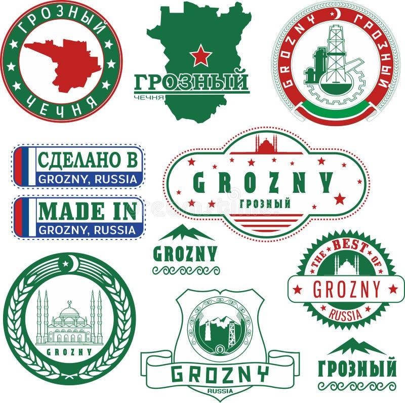 Grozny, Rússia Grupo de selos e de sinais ilustração royalty free