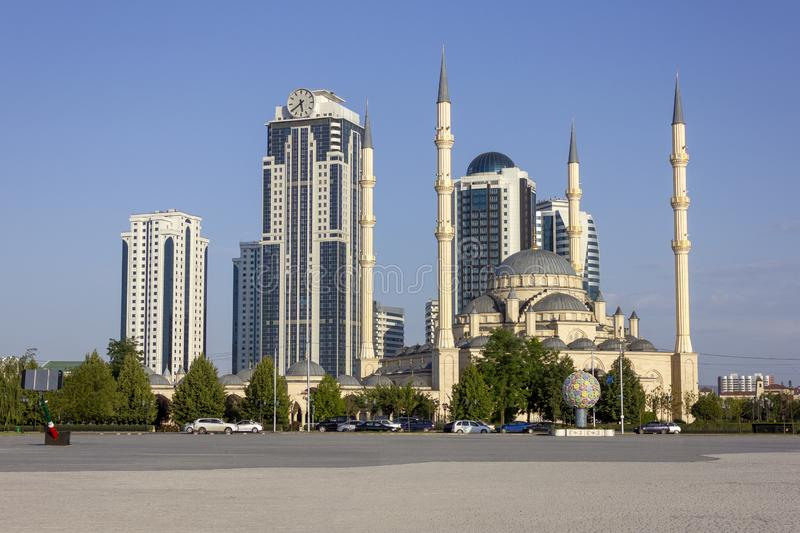 Grozny, Republic of Chechnya / Russian Federation - 08.08.2019: mosque. `Heart of Chechnya` in Grozny against skyscrapers royalty free stock photography