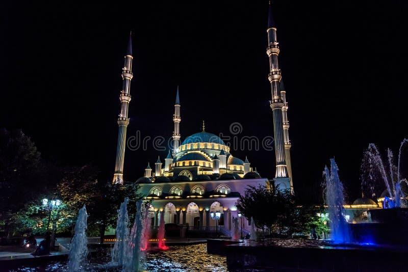 GROZNY ROSJA, LIPIEC, - 9, 2017: Akhmad Kadyrov meczet w Grozny, Czeczenia, Rosja zdjęcia stock