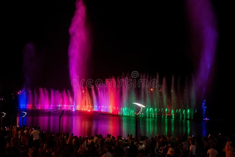GROZNY, RUSSIA - JULY 9, 2017: Musical fountain show in Grozny, Russia royalty free stock image