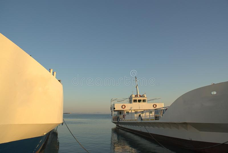 Grrece, AntiParos, docked ferries at sunset. stock images