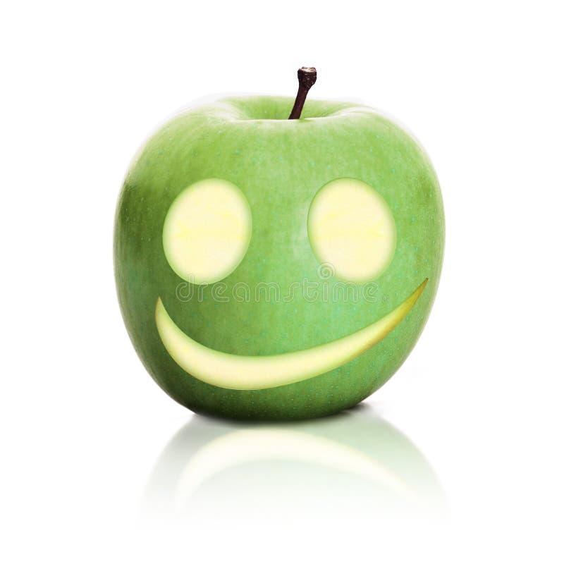 Grreen apple smile stock image