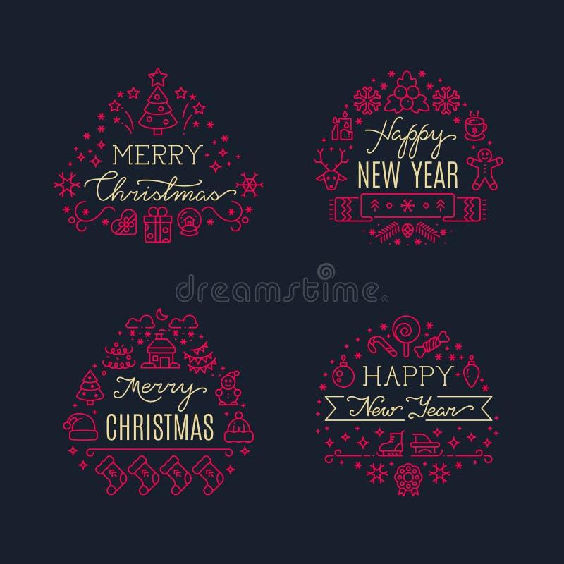 Gruß der frohen Weihnachten skriptet mit Weihnachtsfeiertagslinie Ikonen Karikatur polar mit Herzen vektor abbildung