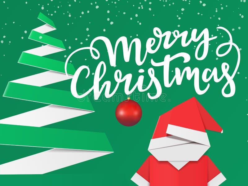Gruß der Weihnachtskarte mit Beschriftungs- und Winterverzierungen Feiertagsplakatentwurf mit Papierbaum und Origami Sankt Clau d lizenzfreie abbildung